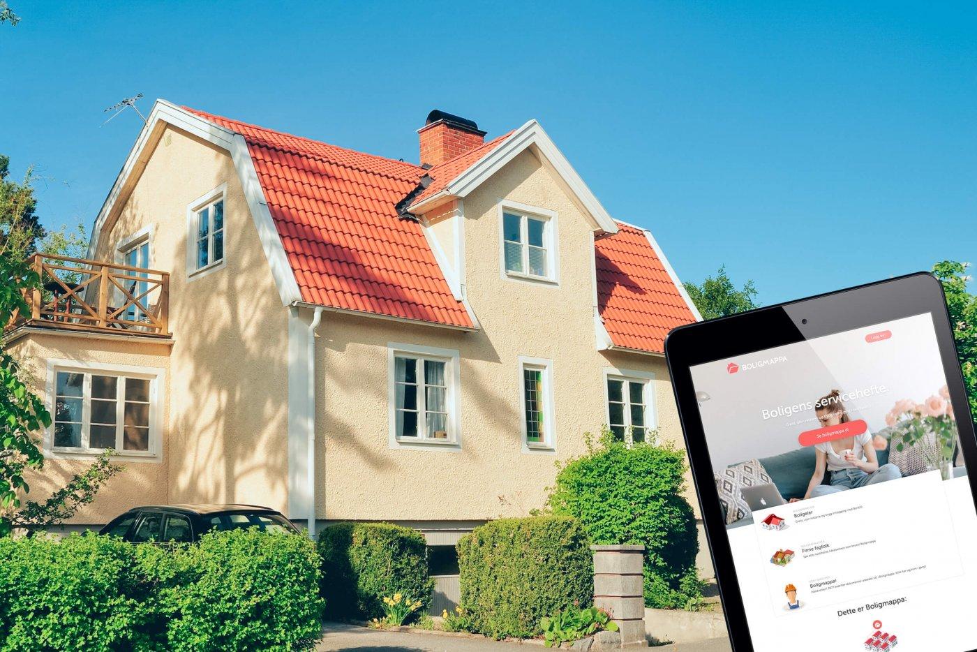 Bilde av norsk bolig med innfelt ipad på boligmappa.no