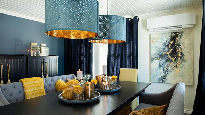 Flunkende nye lamper over spisebordet var bare én av de utallige godbitene Sinnasnekker'n diket opp med