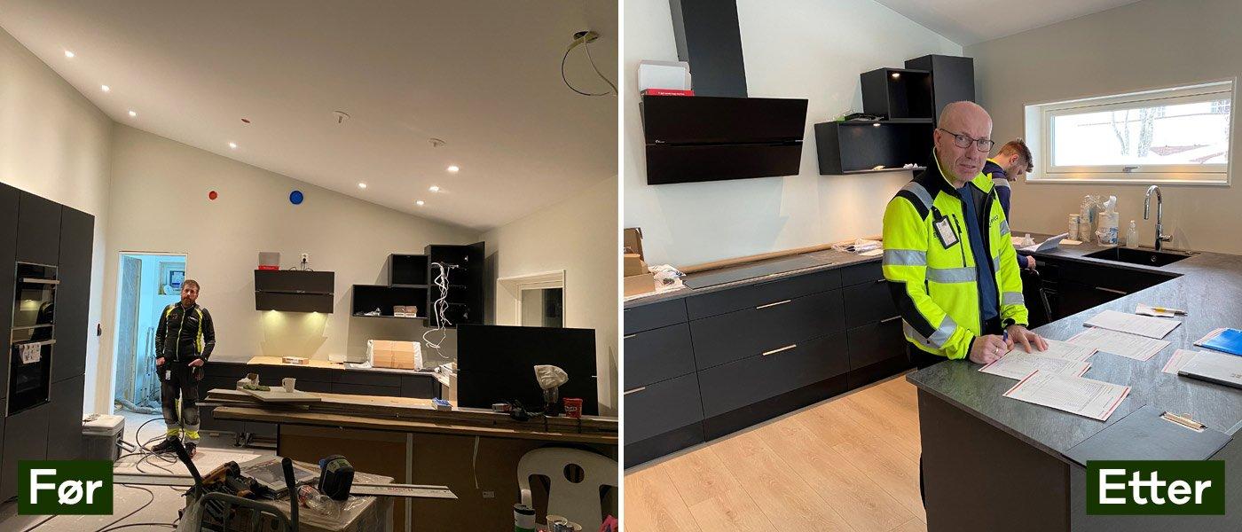 MODERNE KJØKKEN: Terje Nilsen er godt fornøyd med det moderne kjøkkenet han har bygget sammen med sønnen