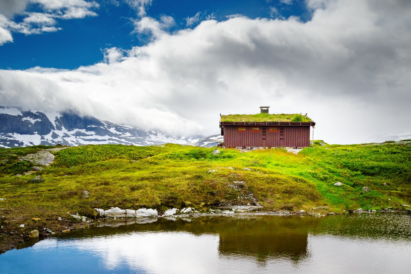 øde, primitiv hytte ute i naturen