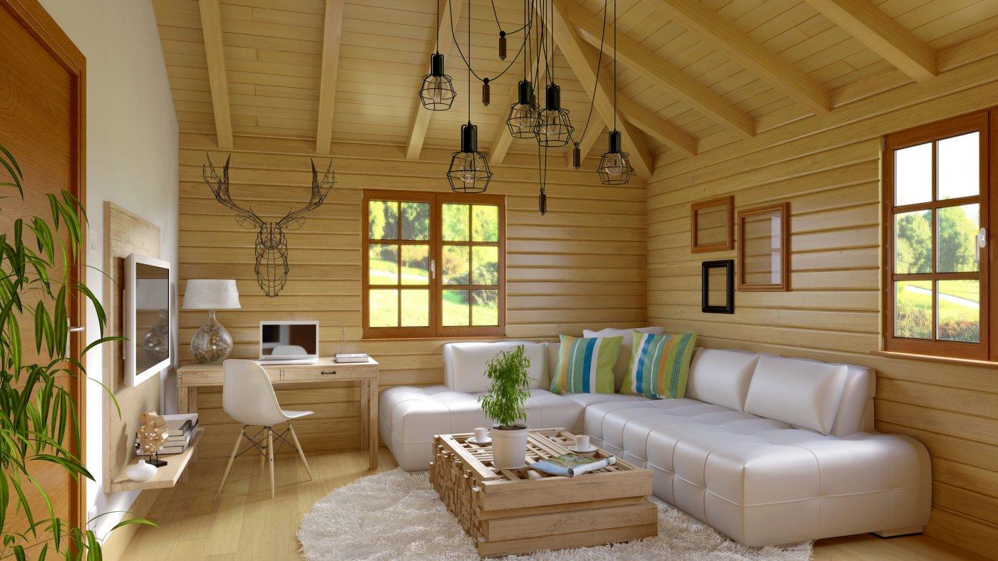 innebilde av en moderne hytte med strøm