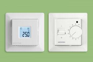 sidestilt bilde av en termostat og en regulator