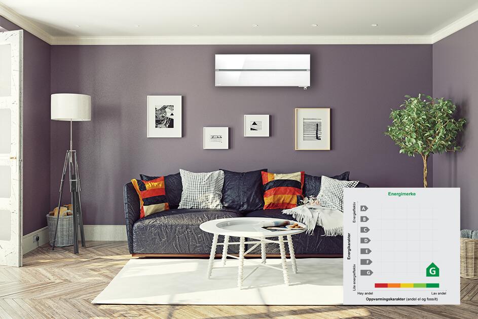 en stue med varmpepumpe, redigert med en grønn energimerking over