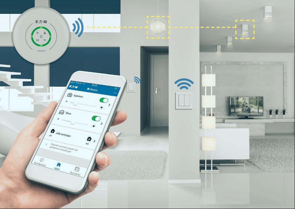 Et illustrerende bilde av hvordan brukeren kan styre lys og varme i hjemmet sitt fra en app på mobiltelefonen.