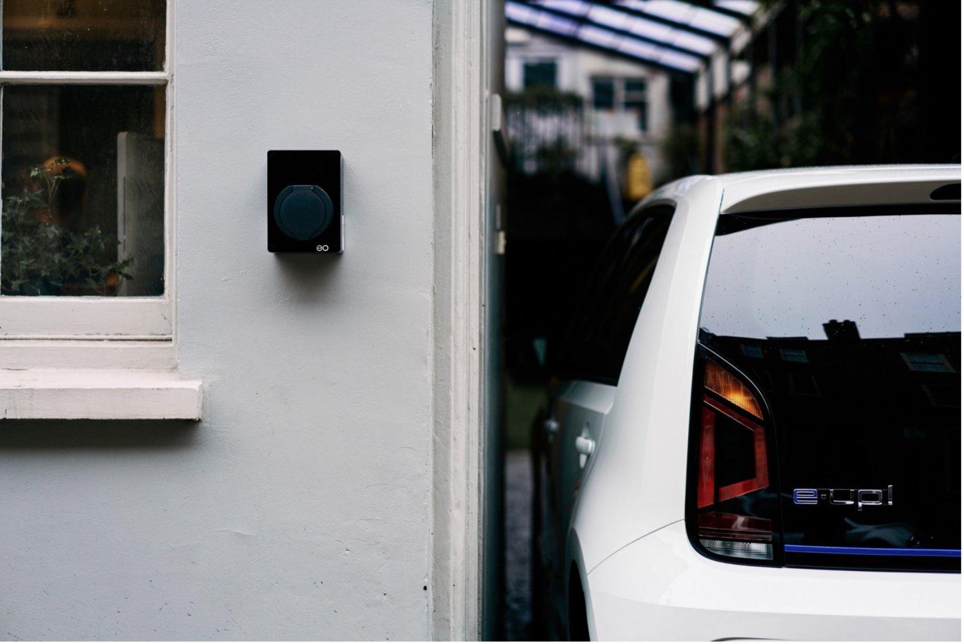 Verdens minste elbillader EO Mini fra Micro Matic på grå husvegg i mur med hvit elbil parkert ved siden av.
